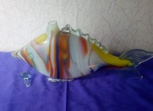 Графин в виде рыбы, цветное стекло, винтаж СССР - Изображение #1, Объявление #1657592